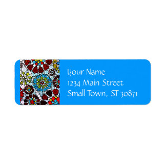 Design colorido das bolhas dos círculos do mosaico etiqueta endereço de retorno