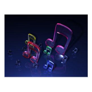 Design colorido das notas musicais cartão postal