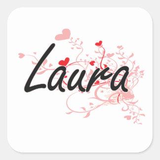 Design conhecido artístico de Laura com corações Adesivo Quadrado
