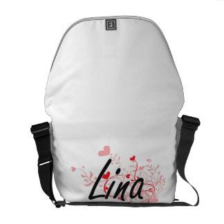 Design conhecido artístico de Lina com corações Bolsas Mensageiro