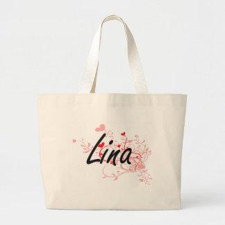 Design conhecido artístico de Lina com corações Sacola Tote Jumbo