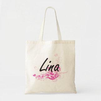 Design conhecido artístico de Lina com flores Sacola Tote Budget