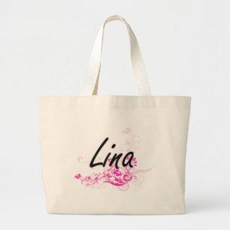 Design conhecido artístico de Lina com flores Sacola Tote Jumbo