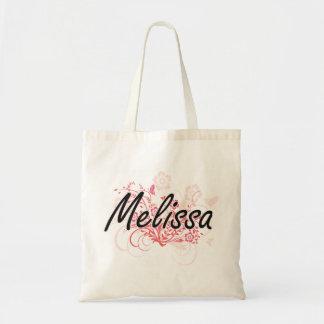 Design conhecido artístico de Melissa com flores Sacola Tote Budget