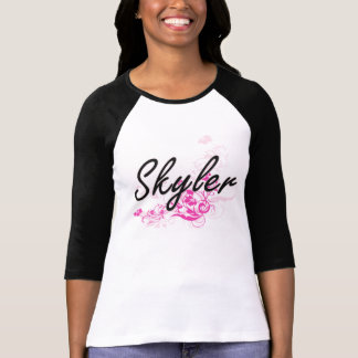 Design conhecido artístico de Skyler com flores T-shirts