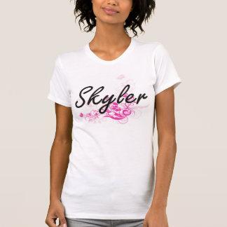 Design conhecido artístico de Skyler com flores Tshirt