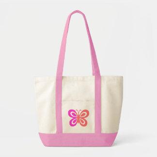 Design cor-de-rosa bonito da borboleta sacola tote impulse