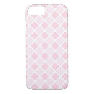 Design cor-de-rosa & branco de Quatrefoil Capa iPhone 7