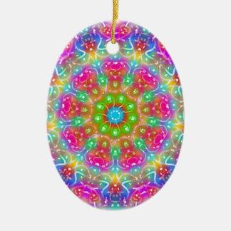 Design cor-de-rosa da mandala do paraíso ornamento de cerâmica oval
