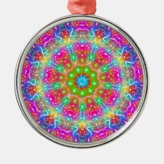 Design cor-de-rosa da mandala do paraíso ornamento redondo cor prata