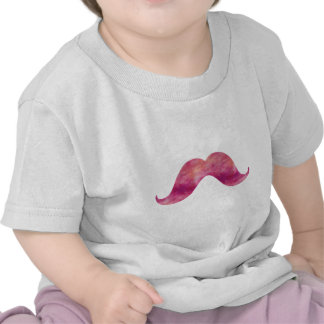 Design cor-de-rosa dos bigodes da aguarela da camisetas