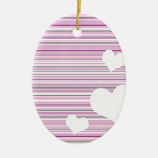 Design cor-de-rosa dos namorados ornamento de cerâmica oval