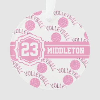 Design cor-de-rosa e branco do voleibol ornamento