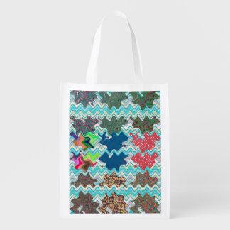 Design da arte abstracta das ondas em um sacola ecológica para supermercado
