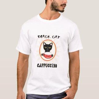 Design da arte do Cappuccino do gato preto Camiseta