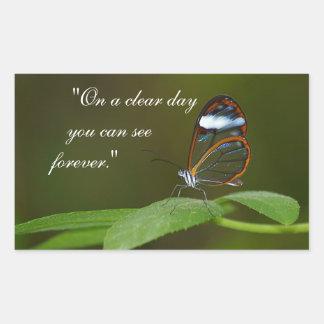 Design da borboleta de Glasswing de um dia claro Adesivo Retangular