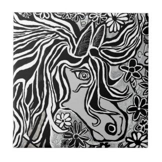 design da cabeça de cavalo com motivo floral azulejos