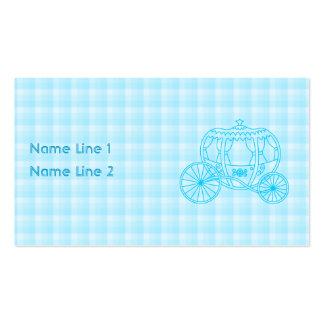 Design da carruagem do conto de fadas no azul de cartão de visita