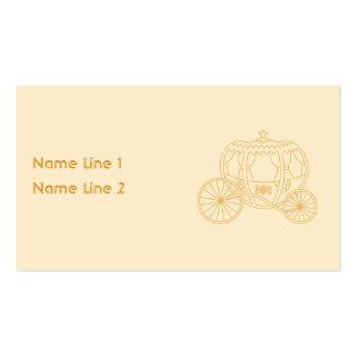 Design da carruagem do conto de fadas no bege e cartão de visita