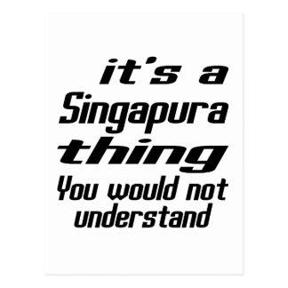 Design da coisa de Singapura Cartão Postal