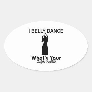 Design da dança do ventre adesivos em formato oval