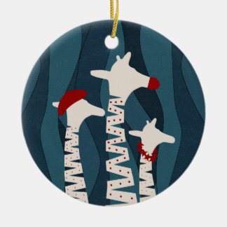 Design da época natalícia dos girafas ornamento de cerâmica