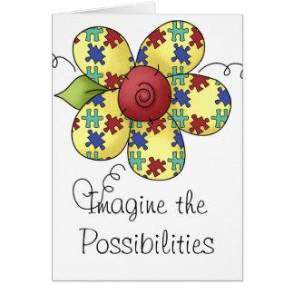 Design da flor das partes do quebra-cabeça da cartão comemorativo