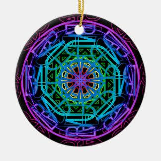 Design da mandala das luzes de néon ornamento de cerâmica redondo