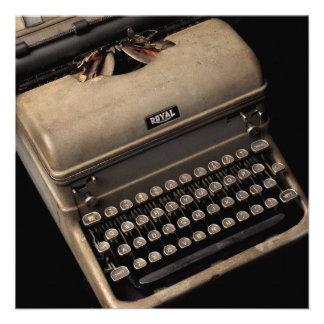 Design da máquina de escrever do vintage convite personalizado