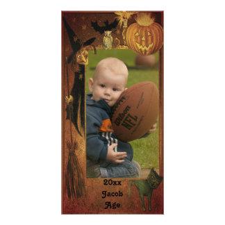 Design da moldura para retrato do Dia das Bruxas Cartão Com Foto