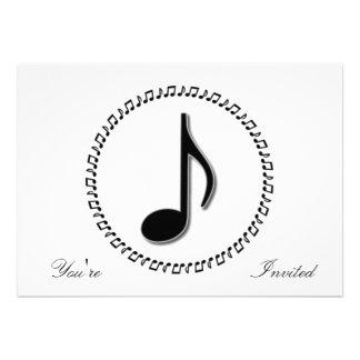 Design da música da oitava nota convite personalizados