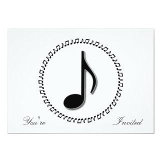 Design da música da oitava nota convite 12.7 x 17.78cm