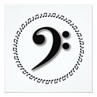 Design da nota da música do Clef baixo Convite Quadrado 13.35 X 13.35cm