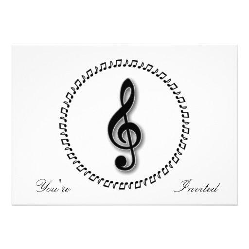 Design da nota da música do Clef de triplo Convites Personalizados