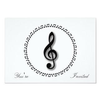 Design da nota da música do Clef de triplo Convite 12.7 X 17.78cm