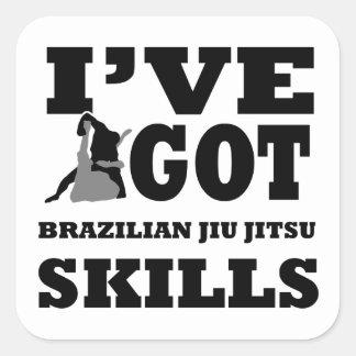Design das artes marciais de Jiu Jitsu do Adesivo Quadrado