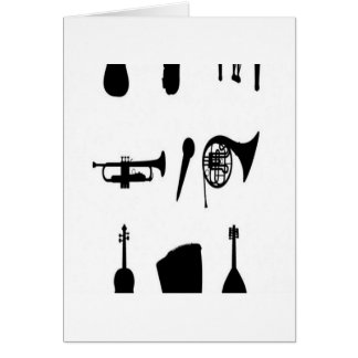 Design das silhuetas dos instrumentos musicais cartao