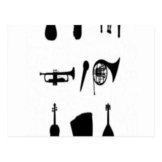 Design das silhuetas dos instrumentos musicais cartão postal