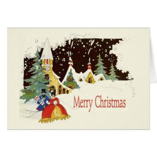 Design de cartão nevado catita do natal vintage