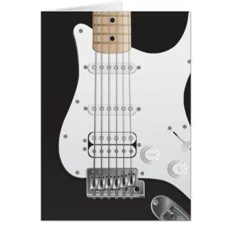 Design de cartão preto da nota da guitarra elétric