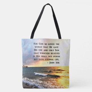 DESIGN DE INSPIRAÇÃO DA FOTO DO OCEANO DO 3:16 DE BOLSA TOTE