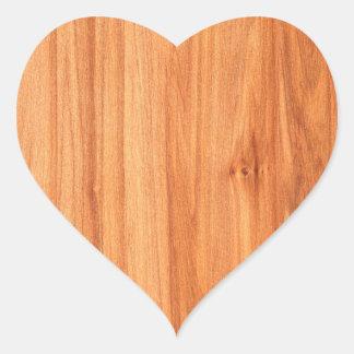 Design de madeira da textura adesivo coração