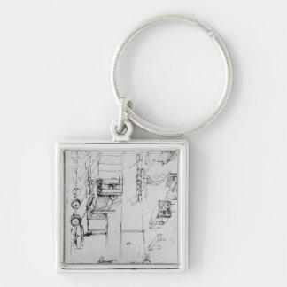 Design de máquina, fol. 367r-b chaveiro quadrado na cor prata