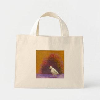 Design de pensamento pensativo bonito do pássaro d sacola tote mini
