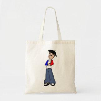 Design de personagem de desenho animado francês de sacola tote budget