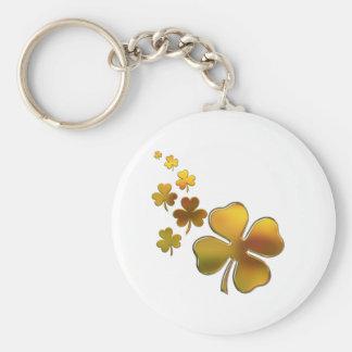 Design de queda dos trevos do ouro (irlandês) chaveiro