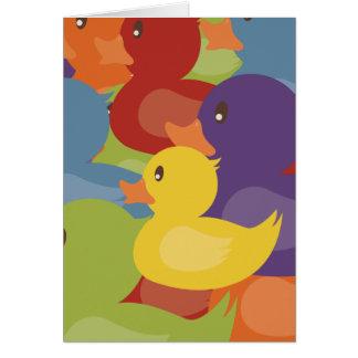 Design de sobreposição dos patos   da borracha do cartão comemorativo