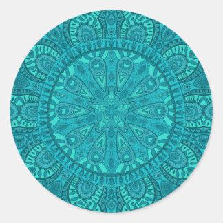Design de Starburst da cerceta Adesivo Redondo