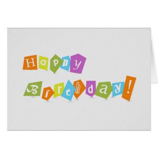 Design de texto colorido bonito do feliz aniversar cartão comemorativo