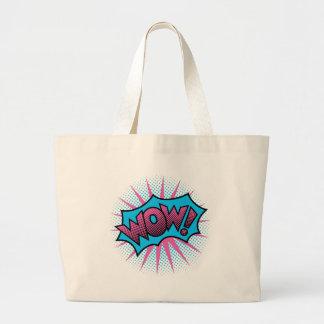 Design de texto do wow bolsa tote grande